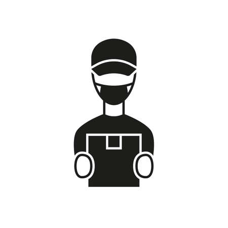 Courier in face mask black icon Illustration