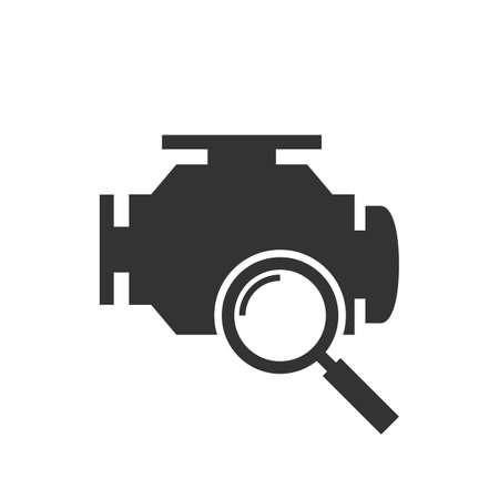 Diagnostics car engine black icon Illustration