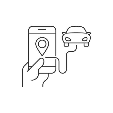 Order taxi from the mobile app Illustration