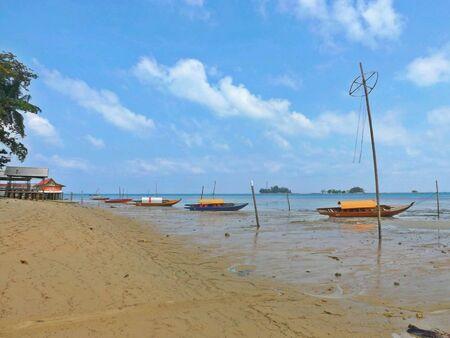 net: Sampans at Nongsa Beach, Batam Stock Photo