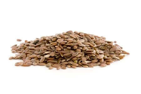 macrobiotic: Flax seed isolated on white background.