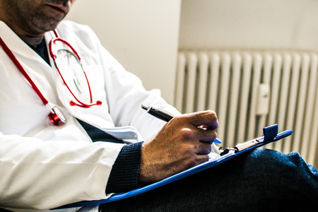 diastolic: doctor During medical examination for health Stock Photo
