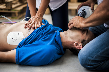 cardiopulmonary resuscitation: rescuers performing cardiopulmonary resuscitation