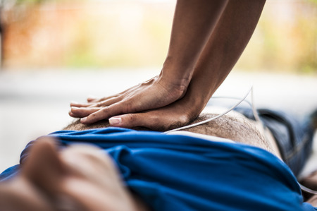 infarct: Cardiopulmonary resuscitation and heart massage Stock Photo