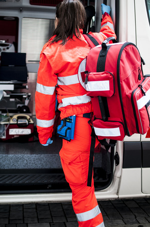 operator of the rescue with emergency rooms backpack by ambulance