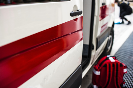 infarct: Emergency workers rushed by ambulance to accident