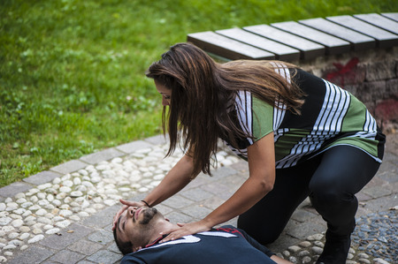 Cardiopulmonary resuscitation with CPR and defibrillator
