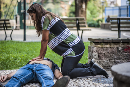 Cardiopulmonary resuscitation with CPR and defibrillation Imagens
