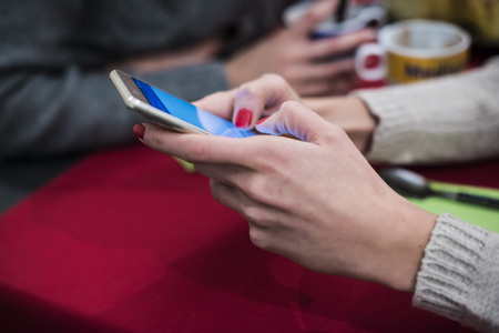 chat and smartphones Stock Photo