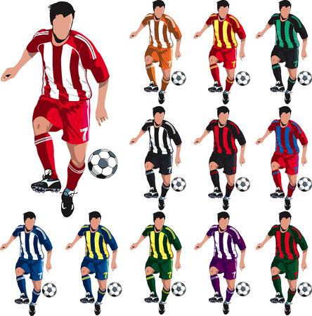 Giocatore di calcio con i colori della camicia alternativi per i progettisti.