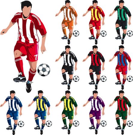Soccer player with alternative shirt colors for designers.