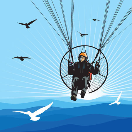 Parachutist flight with birds Vector