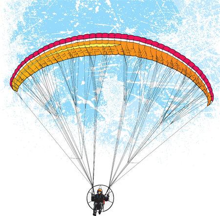 Paracadutista volo con sfondi di stile grunge