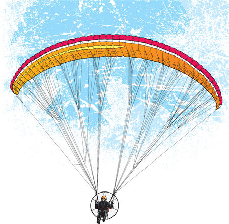 skydiving: Parachutist flight with grunge style backgrounds