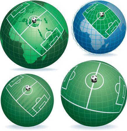 Campo di calcio sul globo