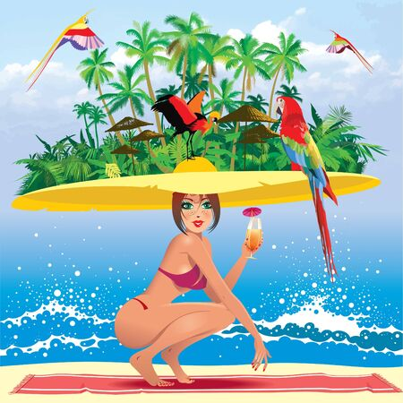 tropical bird: tropical paradise Illustration