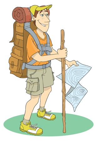 people hiking: Backpacker in outdoor
