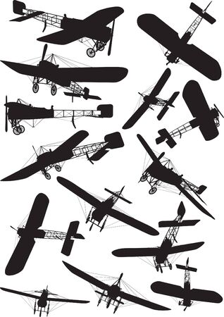 Early Flight, French flight, bleriot XI silhouettes Vector