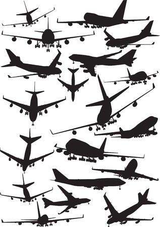 avion de chasse: Avion silhouettes, Boeing 747 Illustration