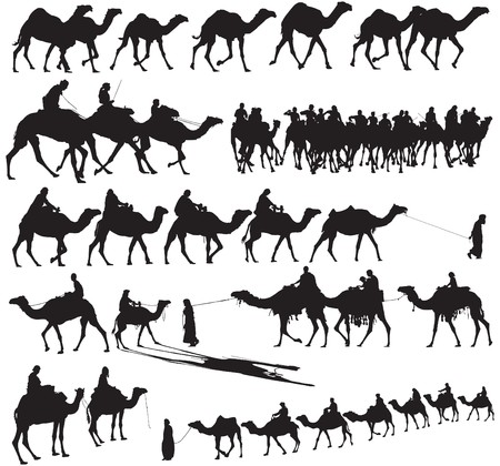 cartoon camel: Camel and caravan Silhouettes
