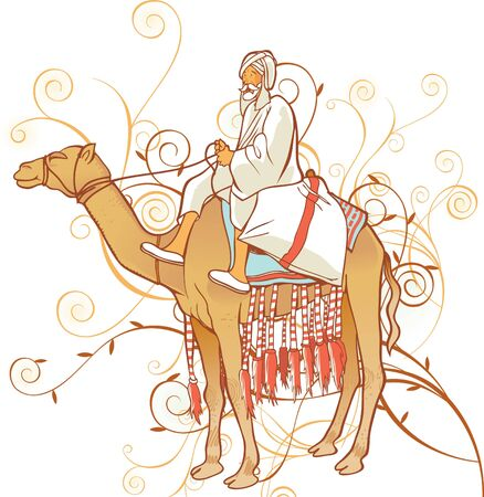 Camel with an Arabian man Stock Vector - 7931044
