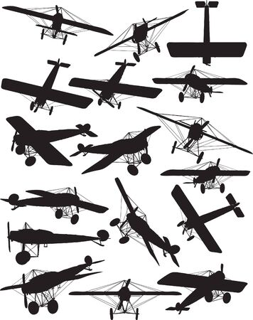 Early Flights, Fokker Eindecker III silhouettes Vector