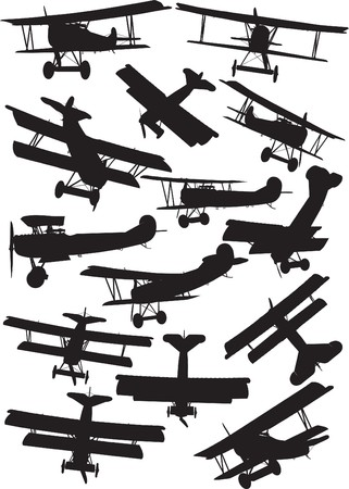 Early Flight, Fokker D7 silhouettes Vector