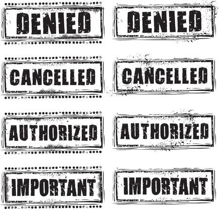 denied: Sello de caucho de grunge abstracto con el texto niega, cancelado, autorizado e importante  Vectores