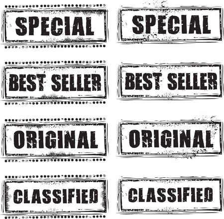 Abstract grunge rubber stamp with the text special, bestseller, original and classified Illustration
