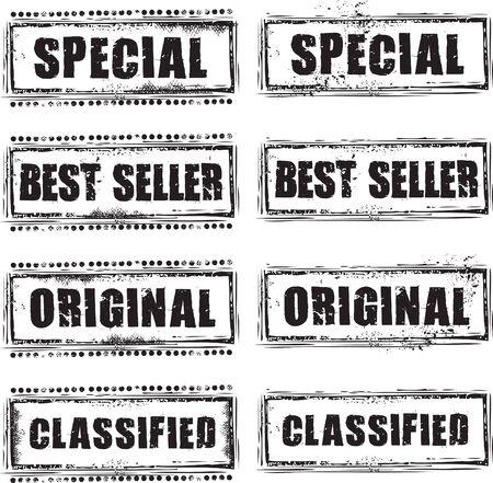 Timbro di gomma grunge astratto con testo speciale, bestseller, originale e classificati