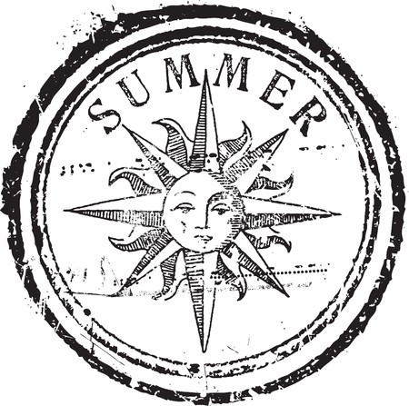 Abstract grunge rubber stamp shape with the word summer Stock Vector - 7931065