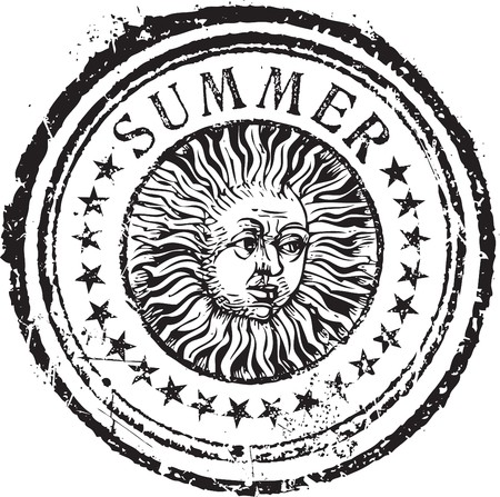 Abstract grunge rubber stamp shape with the word summer 일러스트