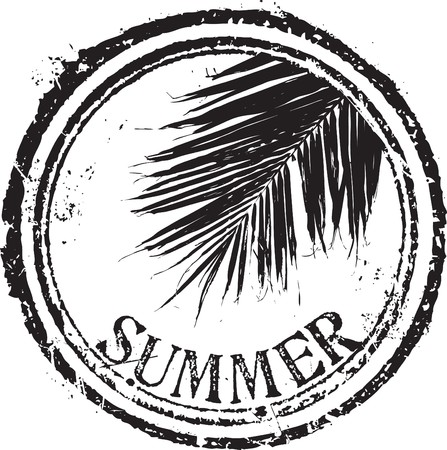 Abstract grunge rubber stamp shape with the word summer Illustration