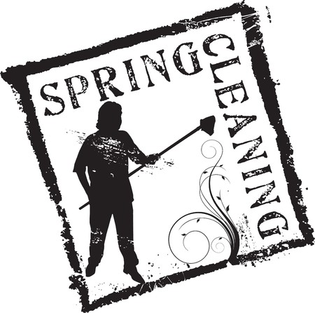 spring cleaning: Abstract grunge rubber stamp shape with the word spring cleaning