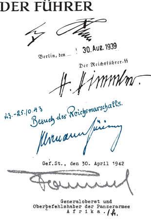Hitler, Himmler, Goering and Rommel signatures