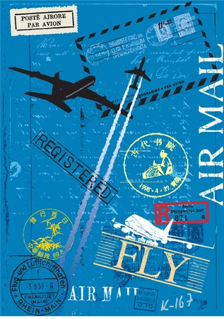 Airmail postage stamps composition  Illustration