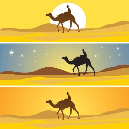 サハラ砂漠の景観と 3 より多くの時間。