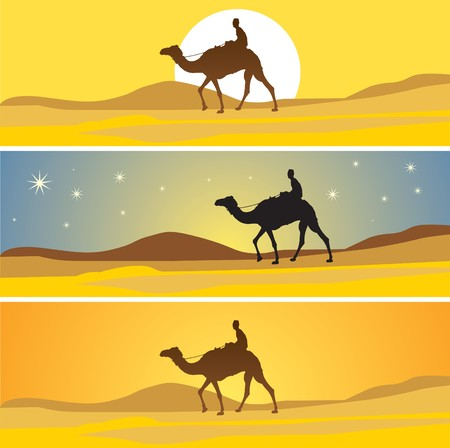 cartoon camel: Sahara scenic and 3 more time. Illustration
