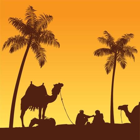 사하라 라이프 스타일과 서있는 낙타 캐러반