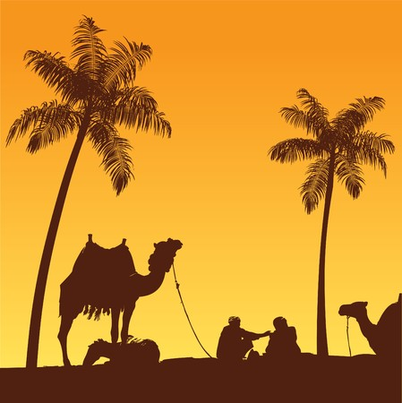 Sahara lifestyle and standing camel caravan Vector