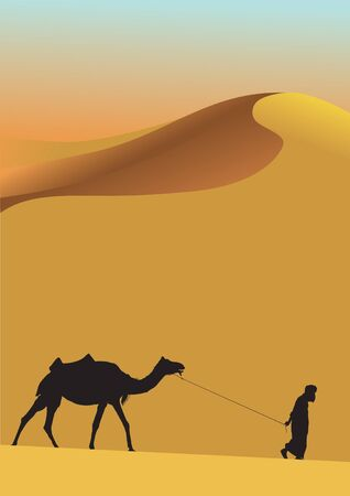 Sahara lifestyle and camel Vector