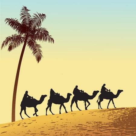 Sahara lifestyle and camel caravan Stock Vector - 7931076
