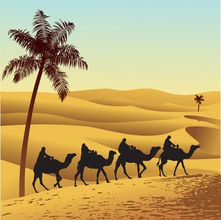 Sahara lifestyle and camel caravan Illustration
