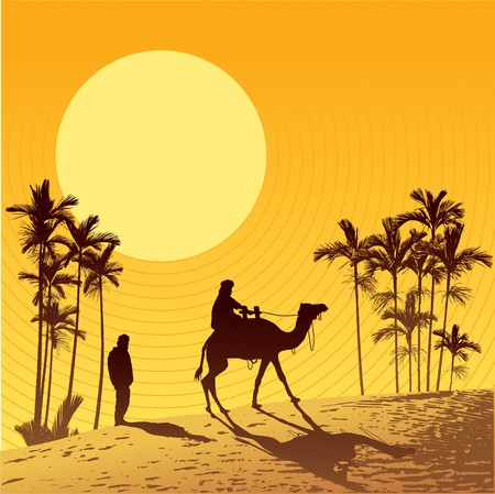 desert sunset: Sahara lifestyle Illustration
