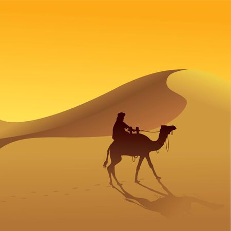 desert sunset: Sand Dune and camel Illustration