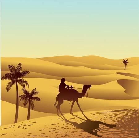Dunas de arena y camello  Ilustración de vector