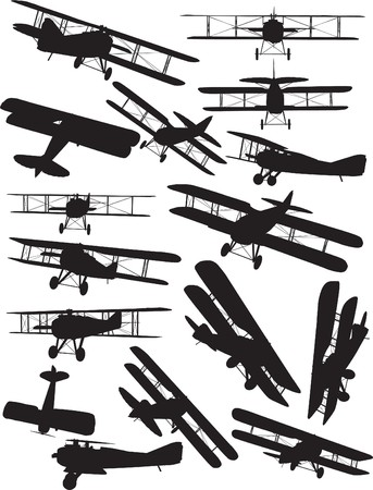 avion de chasse: Vol de d�but, Spad silhouettes ensemble Illustration