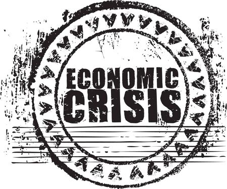 Abstract black grunge rubber stamp with the text economic crisis written inside the stamp