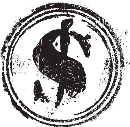 Astratto grunge timbro forma con il simbolo del dollaro