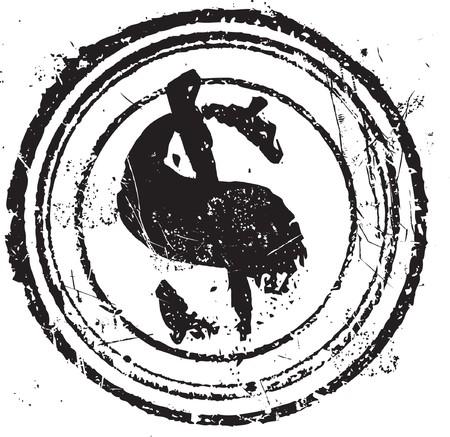 signos de pesos: Abstraer a forma de sello de caucho de grunge con el s�mbolo del d�lar